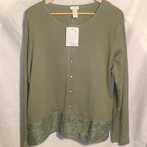 💚SAGE GREEN 100% Cotton +Linen Tunic Top XL NWT💚